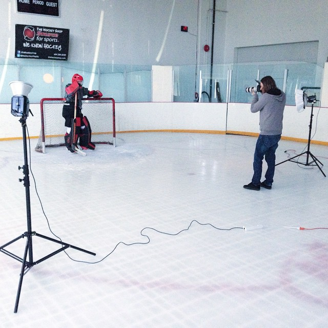 Chilly shoot at Magic Hockey shooting the new Warrior chest protector.