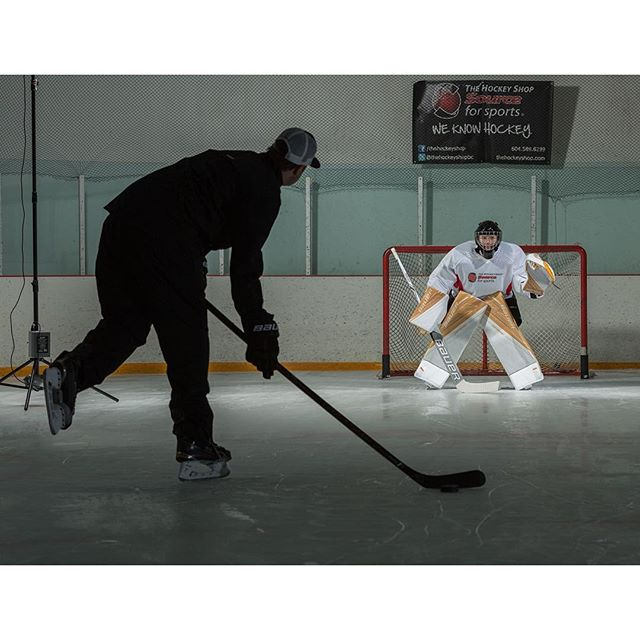 BTS shooting the new @bauerhockey Supreme 1S OD1N pads with @thsgoal @instaprawns and @stoney_bb
