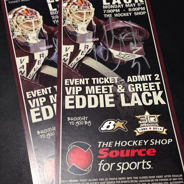 Eddy signed a couple of the tickets I designed for tonight's meet & greet at The Hockey Shop.